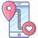 favorite, location, map, mobile, navigation, pin icon
