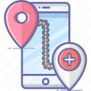 hospital, location, map, mobile, navigation, pin icon