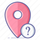 info, location, map, navigation, pin, question icon