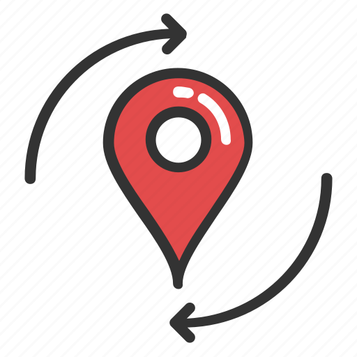 online navigation element, recycling point, refresh map marker, reload pin, relocation icon