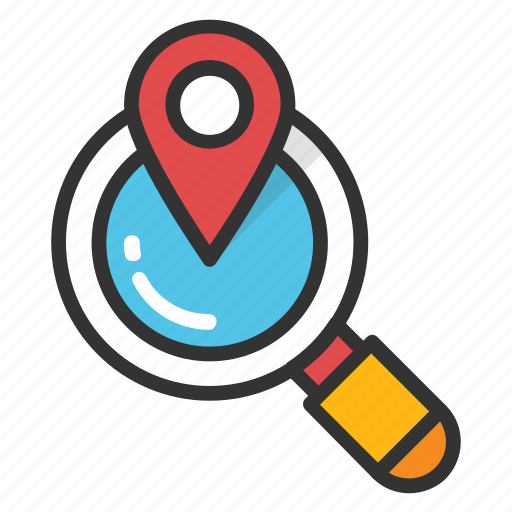 discovery, find location, global location search, global view, globe with magnifier icon