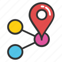 gps mappin, interface menu tool, location mark, share site map, web button