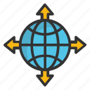 earth, global destination, global directions, globe cardinal directions, world tour icon