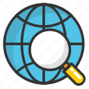 discovery, find location, global location search, global view, globe with magnifier