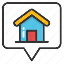home inside pin, home location, housing area, location map pin, residential pin