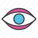 eye, eyeview, focus, human eye, observation icon