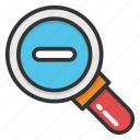 display size button, magnifier, search, search tool, zoom out icon