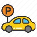 car parking, car parking sign, parking area, parking space, parking zone icon