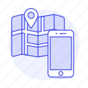 app, application, direction, gps, location, map, navigation, phone, pin, smartphone