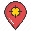 geo targeting, location target, navigation pointer with crosshair, tourism, traveling concept
