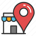 location map pin, market location pin, marketplace map pointer, shop location, store location icon
