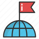 destination, flag pole, globe flag, globe mark, world location flag icon
