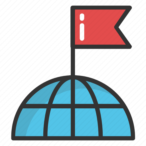 destination, flag pole, globe flag, globe mark, world location flag icon