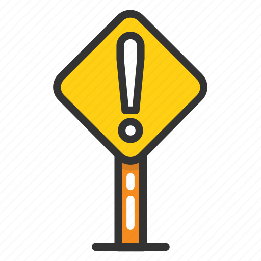 attention concept, road exclamation sign, road hazard sign, warning road sign icon