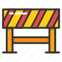 barricade, road barrier, road maintenance, roadblock, traffic warning icon