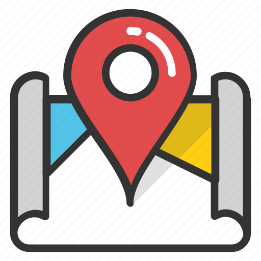 atlas, geography, map, navigation map, roll map icon