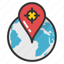 cardinal directions, compass directions, global destination, global directions, globe compass icon