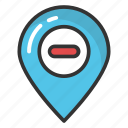 map marker cancel location, navigation pointer, stop direction, wrong location, wrong place icon