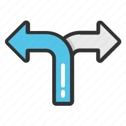 cross road, double way, roadway, splitting road, two way road icon