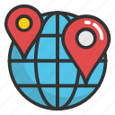 global navigation, global positioning system, globe and pointer, gps navigation icon