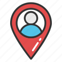 geotargeting, gps location, navigation concept, user location pin icon