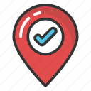 approved location, confirm location, gps, map pointer with check mark, navigation icon