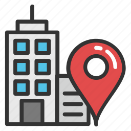 building location, city building, city location, city map, location map pin icon