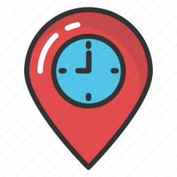 clock map pointer, clock placeholder, clock tower, map marker with clock, watch map pointer icon