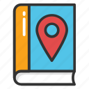 book location pin, booklocate, library location, map marker with book, school location icon