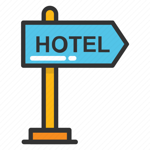 guidepost, hotel direction, hotel sign, hotel signage, signboard icon