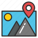 hill station, landscape, location pin, tourism, traveling pin icon