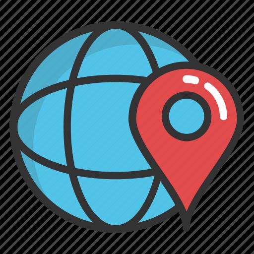 global navigation, global positioning system, globe and pointer, gps navigation icon