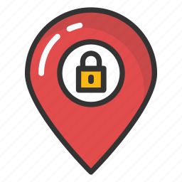 location lock, locked place, map pointer lock, private location, security concept icon