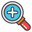 display size button, magnifier, search, search tool, zoom in icon