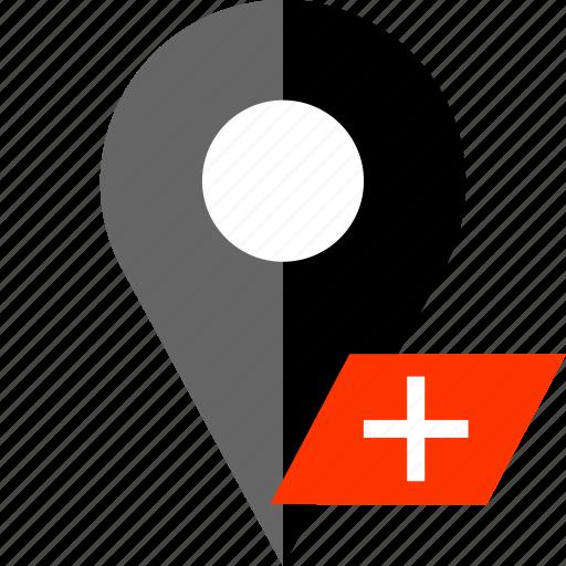 add, locate, location, map, pin icon