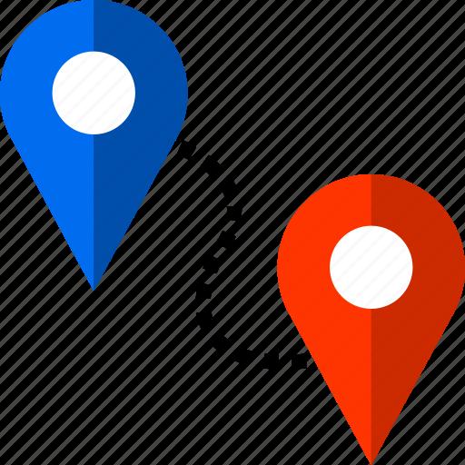 connect, destination, destiny, pins, two icon