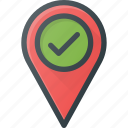 check, geolocation, location, map, pin icon