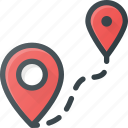 distance, geolocation, location, map, pin icon