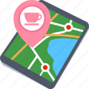 coffee shop location, lounge location, map, tablet