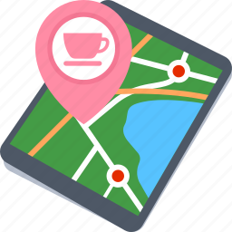 coffee shop location, lounge location, map, tablet icon