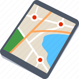 location, map, street, tablet icon
