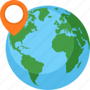 globe, location, pin, world map