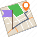 destination, finish, location, map, route icon