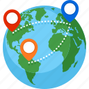 destination, globe, location, route, world map icon