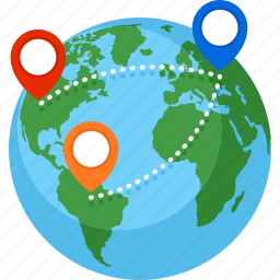 destination, globe, location, route, world map icon