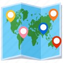 navigation, location, pin, world map