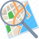 find, location, map, search, zoom icon