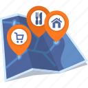 home location, map, restaurant location, store location icon