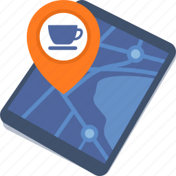 coffee shop, direction, map, restaurant location, tablet icon