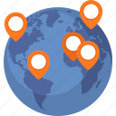 globe, location, pin, world map icon